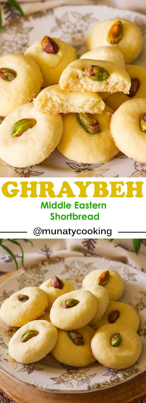 Traditional Middle Eastern butter cookies, Ghraybeh is a delicate, delicious cookie that melts in your mouth. Watch the video in the post to learn how to make this delight!