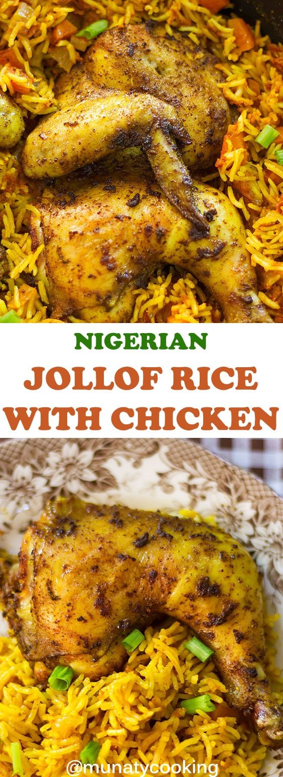 Jollof Rice is a classic African dish. Perfectly cooked rice with baked chicken. Perfect for parties or as quick dinner. Watch the video in the post to learn how to make this African delight. #jollofrice #africanrecipes #chickenandrice.