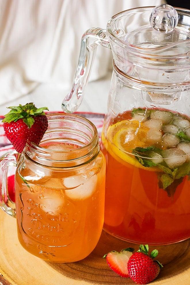 Summer drink, strawberry lemonade served.