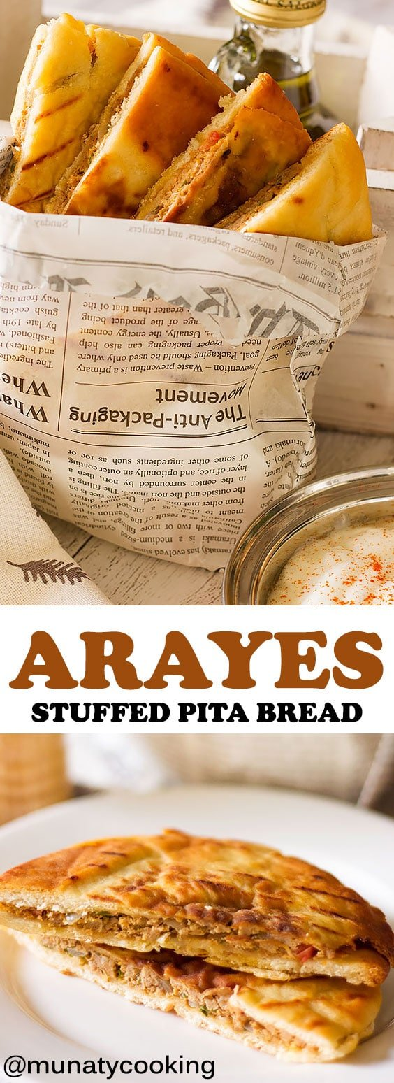 Arayes is stuffed pita bread with seasoned ground lamb meat. In Egypt, it is known as Hawawshi; Arayes are more like burgers but are flat and have so much flavor. #arayes #stuffedpitabread #pitabread #appetizer