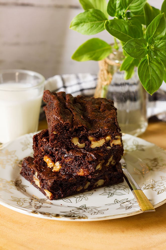 fudgy brownies with walnuts.