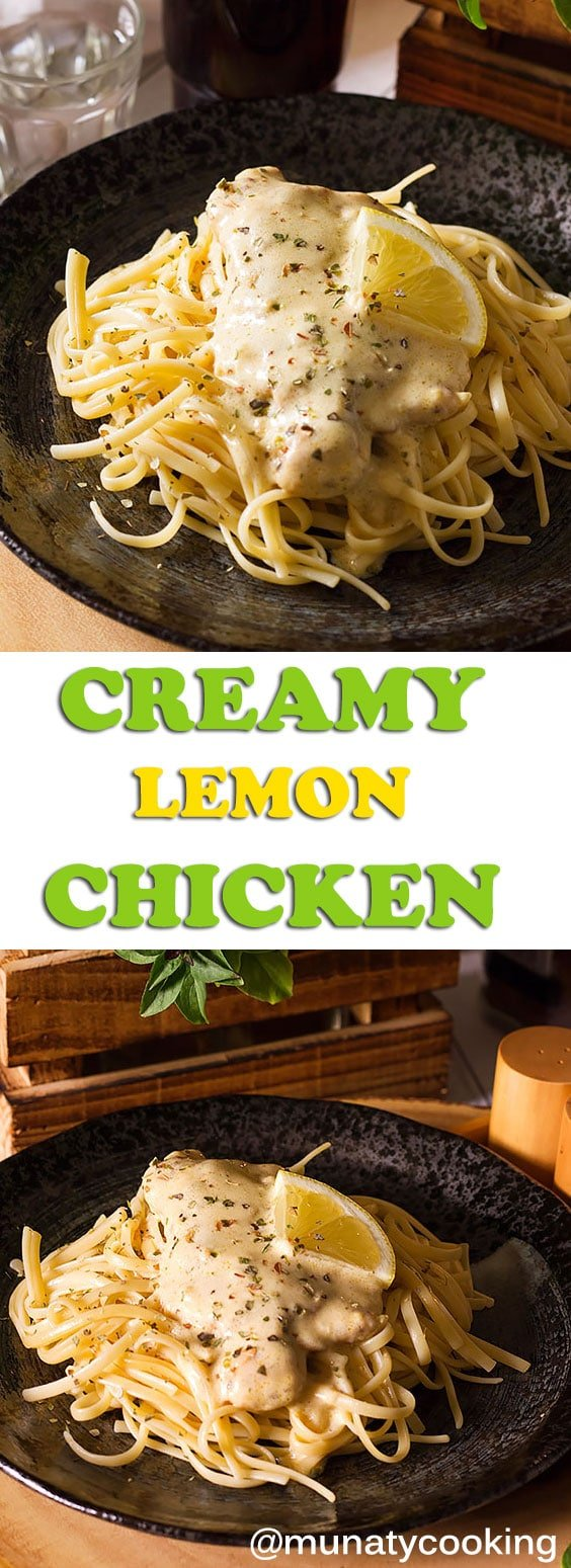Creamy Lemon Chicken super easy and delicious dinner. Tender chicken breast smothered in a silky smooth creamy lemon sauce. Serve on pasta or mashed potato! #creamylemonchicken #lemonchicken #dinnerrecipe #chickenrecipe #lemonsauce