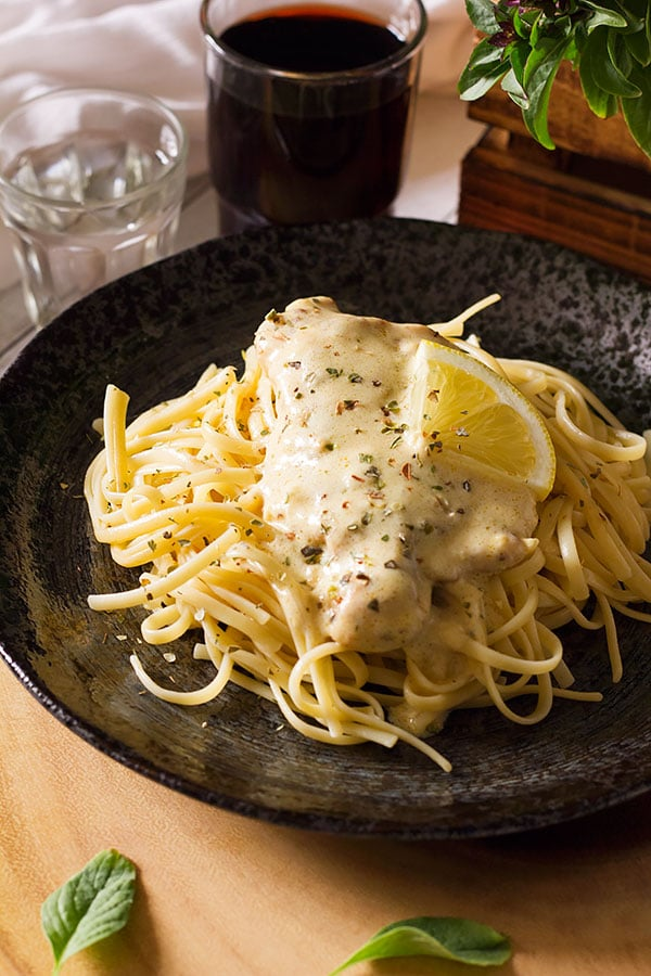chicken breast smothered with creamy lemon sauce.