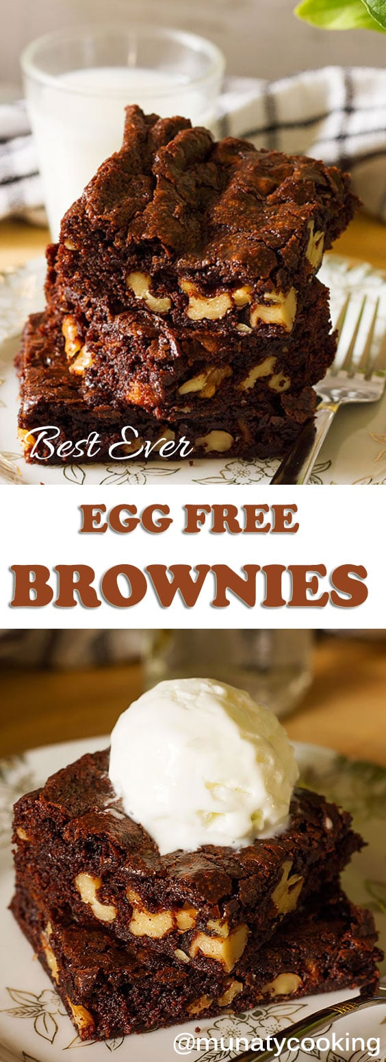 The BEST Egg Free Cocoa Fudge Brownie Recipe! Fudgy, chewy, gooey brownies with crunchy toasted walnuts, and perfectly crisp, crackly top. These brownies will pleasantly surprise you. There is no fuss and no mess; all the ingredients are mixed in one bowl.  #brownies #eggfreebrownies #egglessbrownies #fudgybrownies