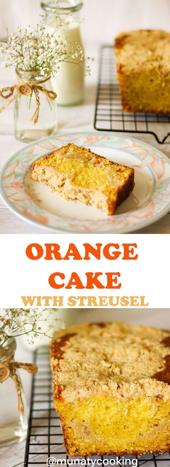 Exceptional Orange Cake with streusel in the middle of the cake and on its top! The crumb is beautifully tender and moist, and this cake has a great orange flavor coming from the orange juice and zest added to the batter. #orangecake #orangedessert #cakerecipe