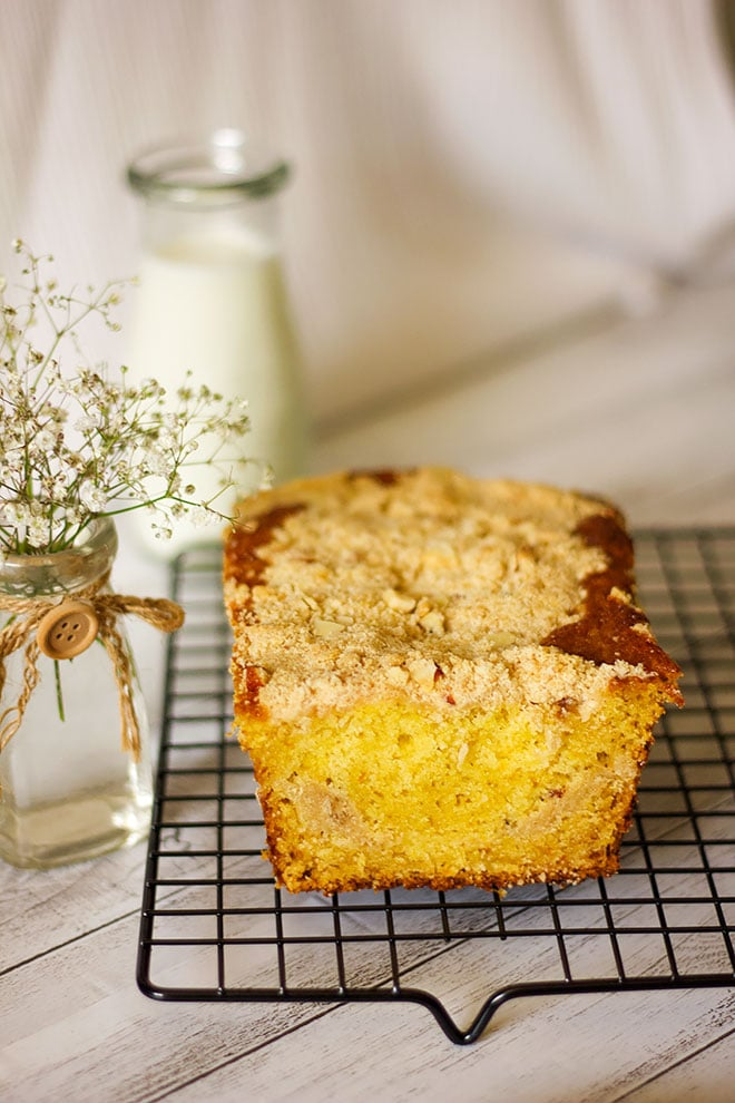 Orange Cake with Streusel Loaf on a cooling rack.