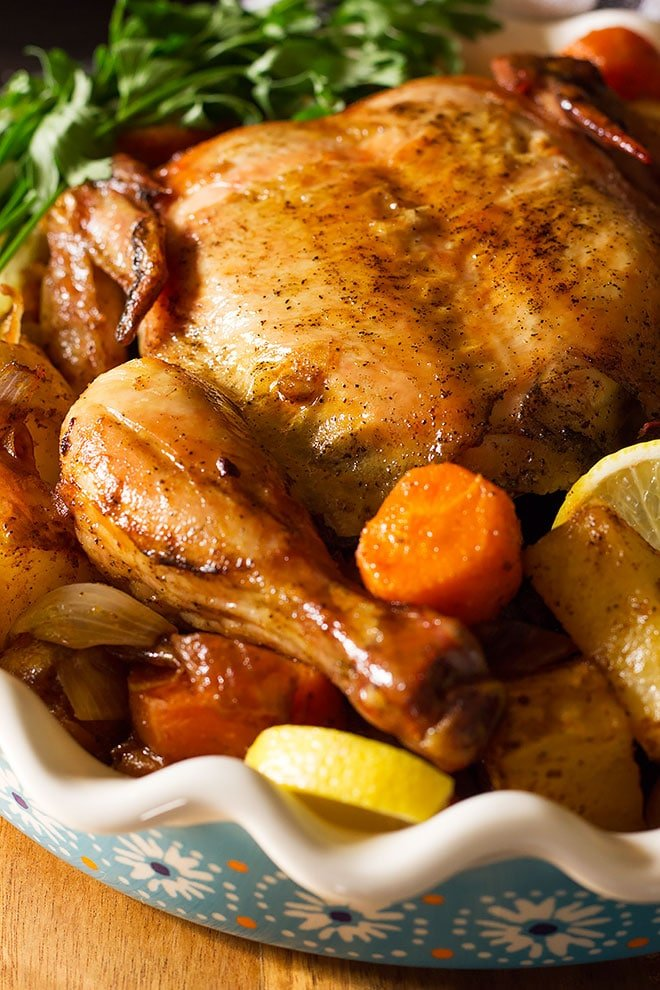 Tender and juicy rotisserie chicken made in the oven.