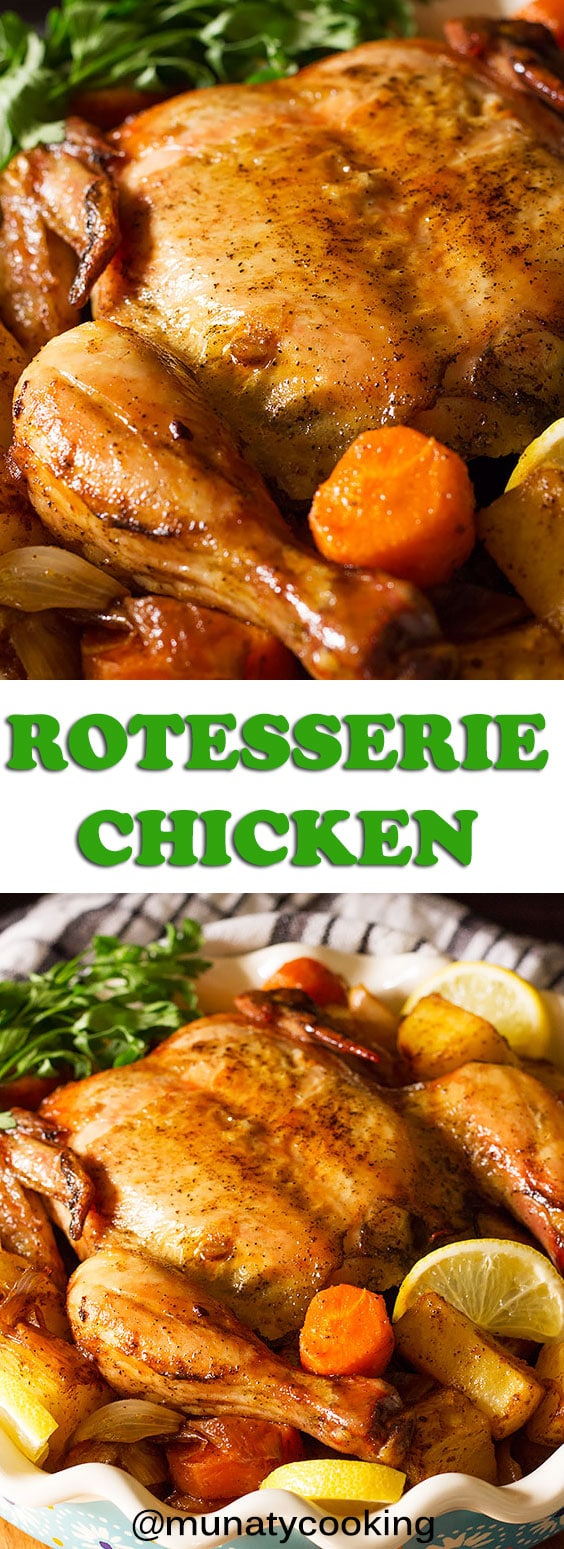 Make your own juicy and tender Rotisserie Chicken using your oven! Use the tips and steps mentioned in the post to make this delicious chicken dinner. #rotisseriechicken #chickenrecipes #roastedhicken #chickendinner