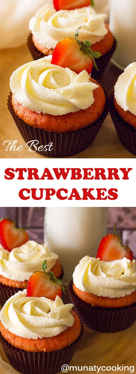 Strawberry cupcakes are soft and fluffy strawberry cupcakes with creamy buttercream frosting. These cupcakes are just bursting with flavor. They are hands down the best strawberry cupcakes I've ever had, and they'll likely be your new favorite too. #strawberrycupcakes #cupcakerecipe #cupcakes #strawberrydessert #buttercream