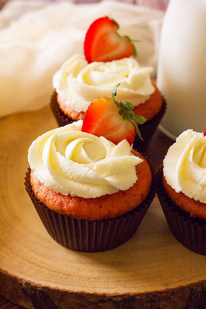 Close image of strawberry cupcakes.