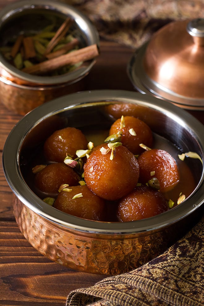 Freshly made Indian Bread Gulab Jamun.