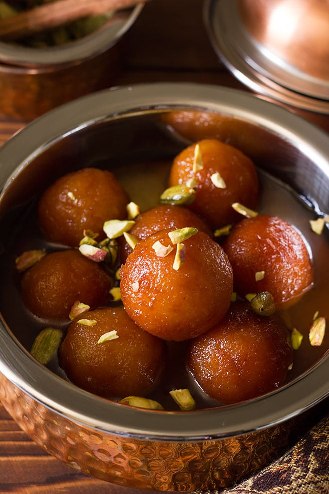 Soft freshly made bread gulab jamun.