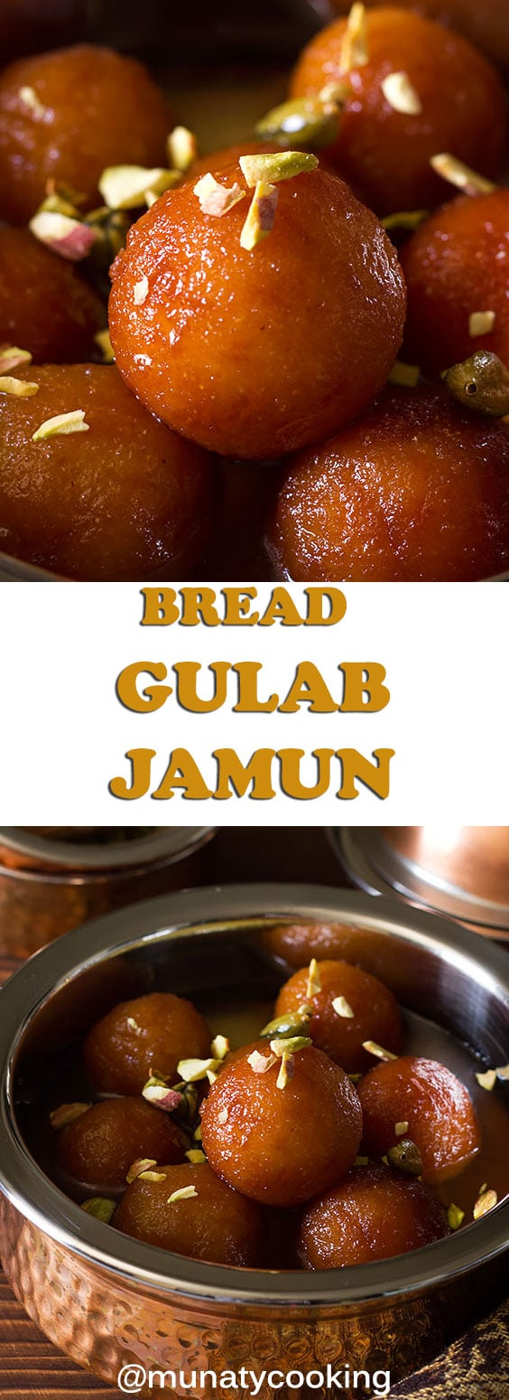 Bread Gulab Jamun are soft balls made from bread and milk submerged in sweet syrup and perfumed with saffron and cardamom. This is an instant recipe that replaces the version made with Khoya. #gulabjamun #breadgulabjamun #indiandessert #instantdessert