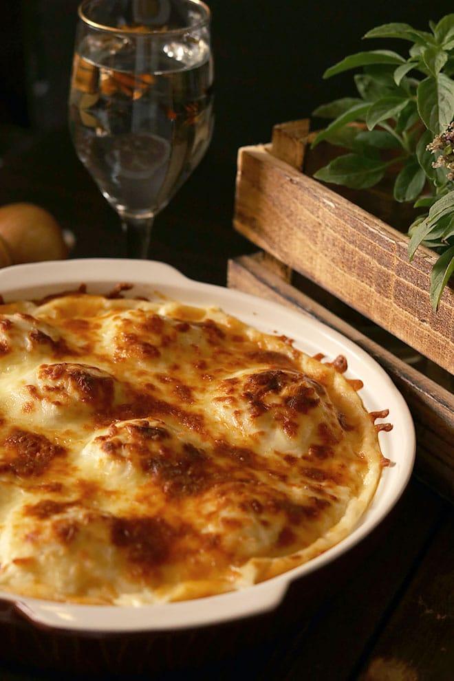 chicken casserole with potato balls.
