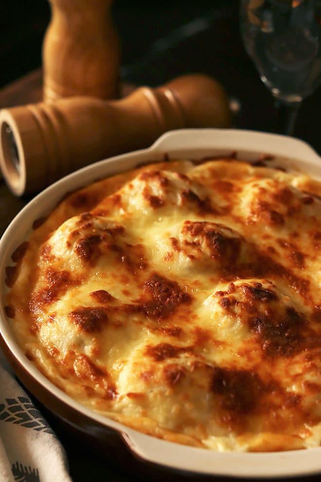 Close up image of chicken and potato casserole.