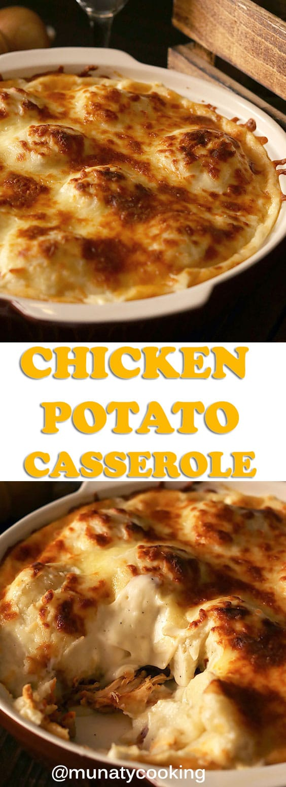 A lip smacking dinner. Chicken and potato casserole. It has a chicken layer with vegetables topped with mashed and seasoned potato balls, covered with silky smooth white sauce, and then topped with mozzarella cheese. #chickencasserole #chickenandpotatocasserole #dinnerrecipe