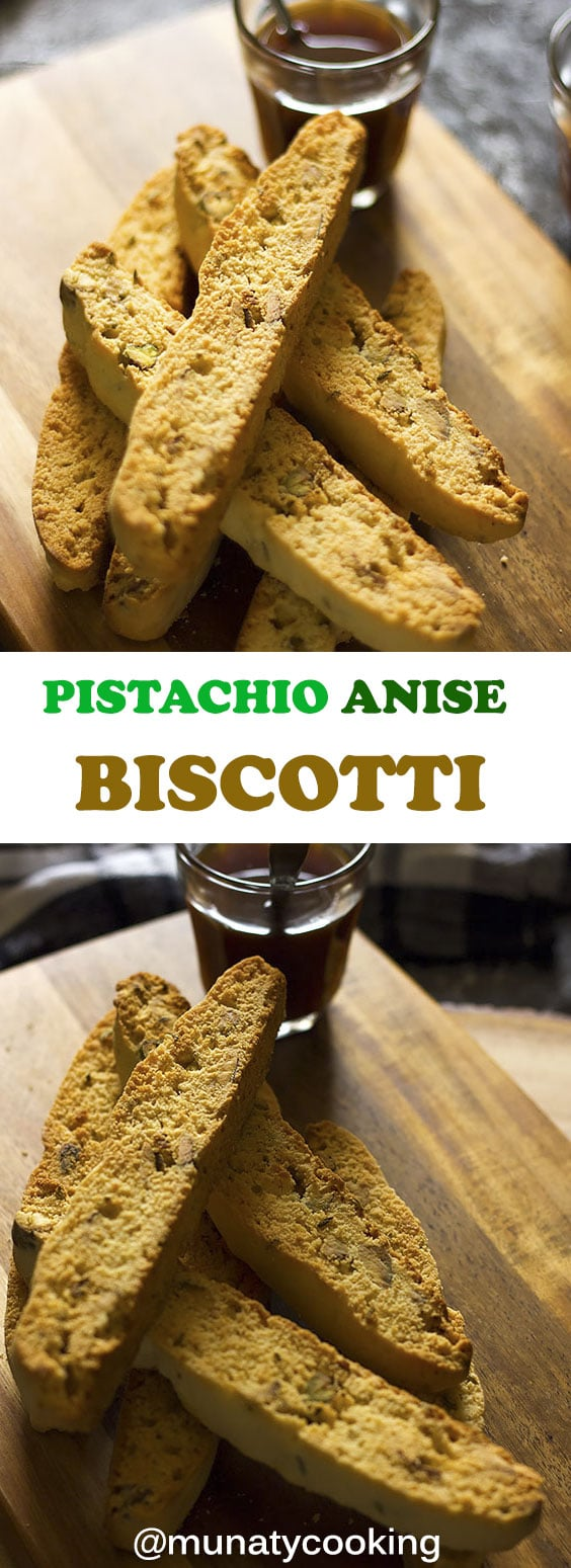 Pistachio Anise Biscotti recipe. Sweet Italian cookies with a crunch and amazing flavor coming from the pistachio, anise seeds, and vanilla. The dough is mixed in one bowl, saving you time. You can watch my video to learn how to make this Italian delight. #biscotti #pistachiobiscotti #italianbiscotti #cookies