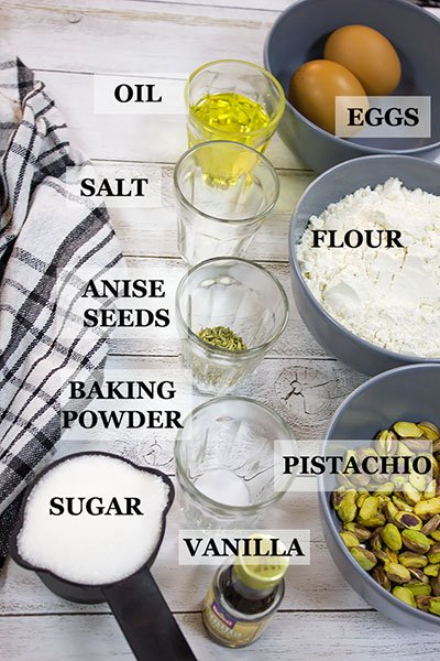 List of ingredients in pistachio anise biscotti recipe.