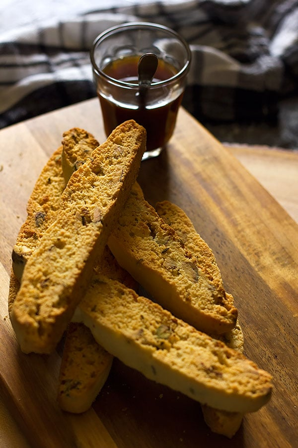 Pistachio Anise Biscotti served with coffee.