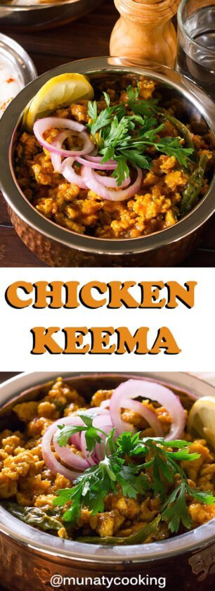 Chicken Keema is an Indian and Pakistani dish, made from minced chicken and a blend of earthy warm spices. Serve it with Indian Bread or plain rice. More tips in the post. #chickenkeema #Indianrecipe