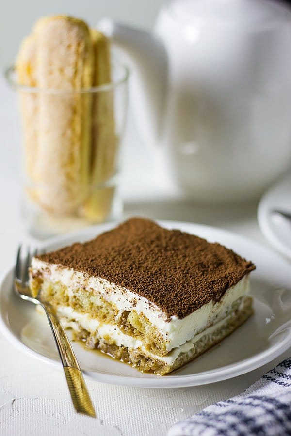 A slice of egg free Italian dessert.