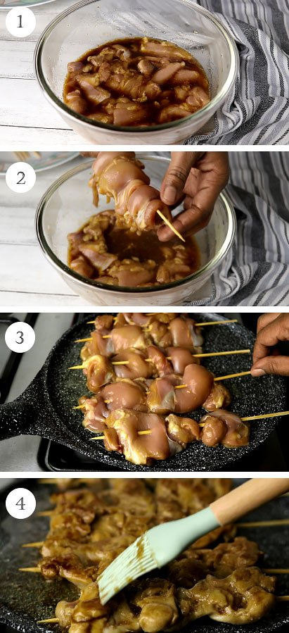 Step by step image on how to make teriyaki chicken skewers.