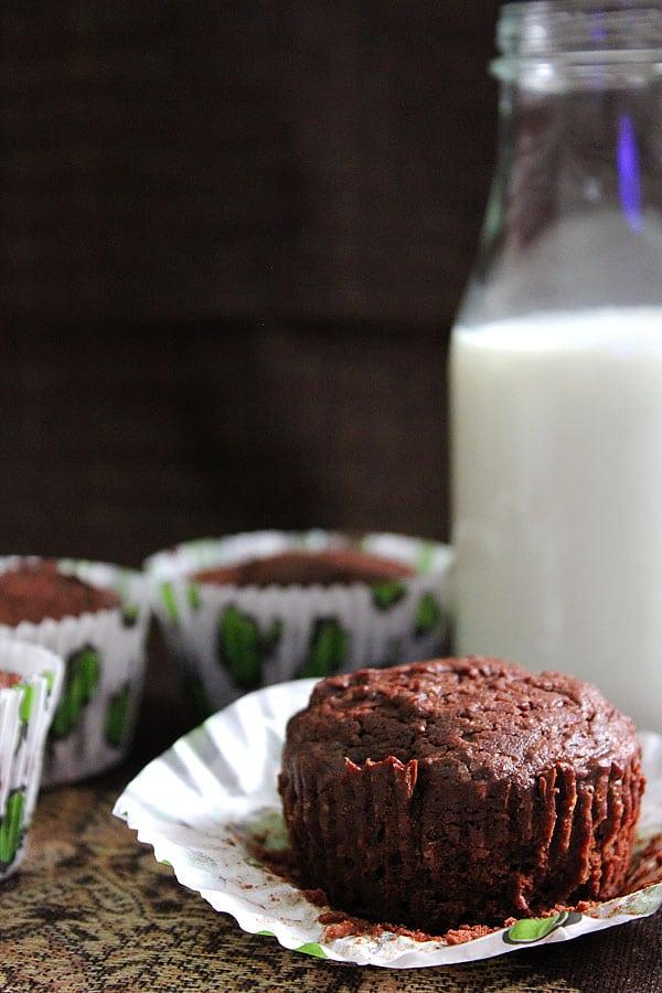 Brownie cupcakes in cupcake liners.