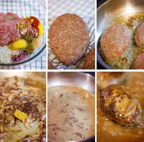 Step by step image for making Salisbury steak.