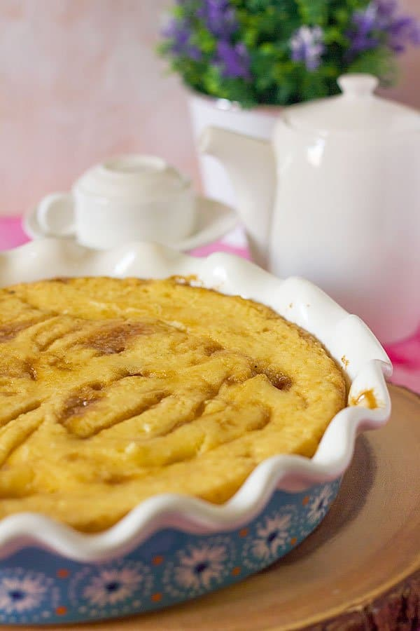 Side image of freshly baked self saucing butterscotch pudding.