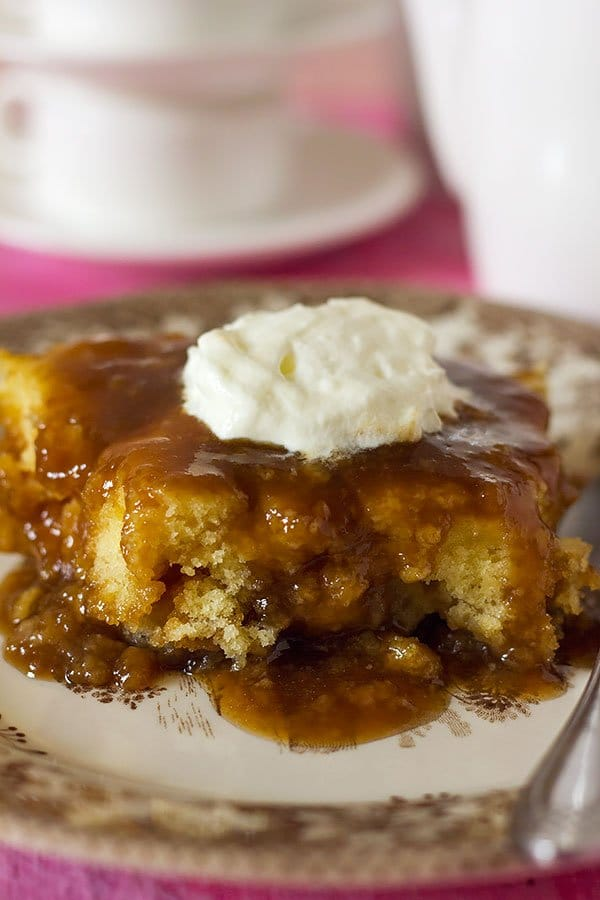 Close up image of self saucing butterscotch pudding.