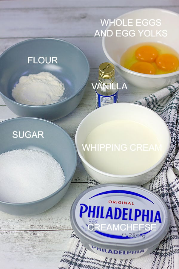 Image of ingredients in basque cheesecake.