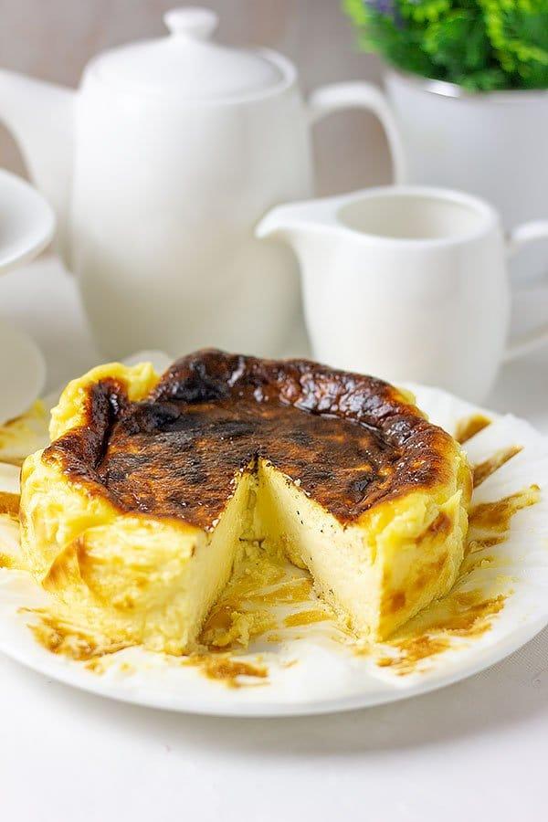 Freshly baked basque burnt cheesecake.