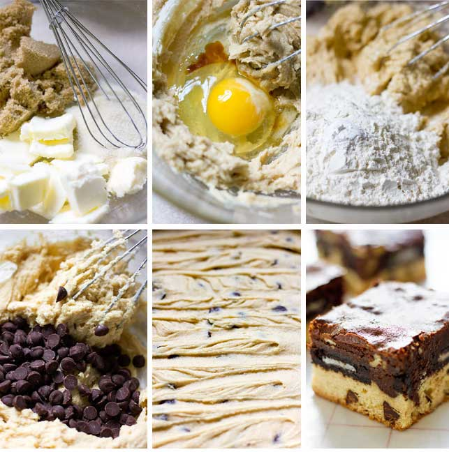 Step by step image for making chocolate chip cookie dough.