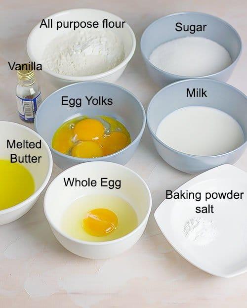 Ingredients in making yellow cake.
