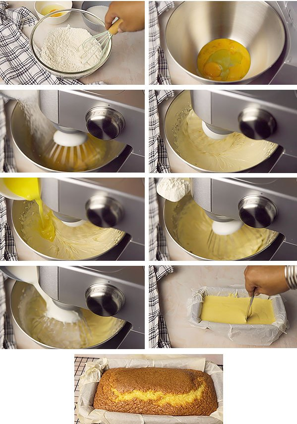 Showing steps in making yellow cake from scratch.