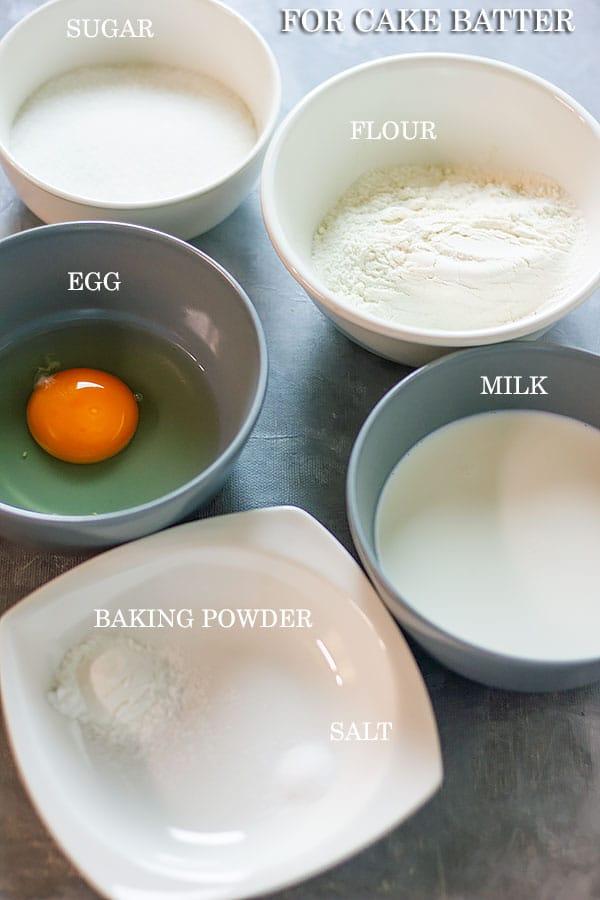 List of ingredients to make peach cobbler batter.