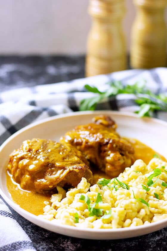 Chicken Paprikash served in a plate.