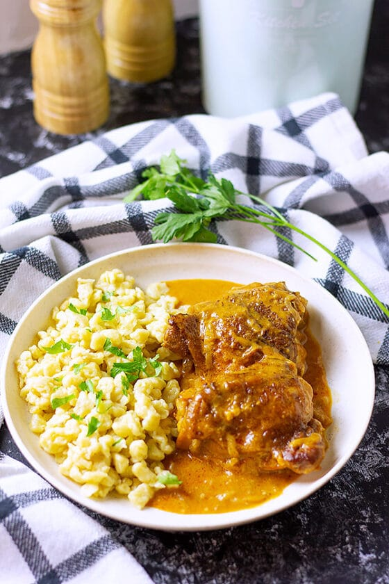 Paprikash served with homemade spaetzle.