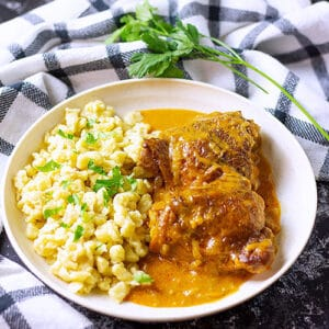 Small image of chicken paprikash in a plate.