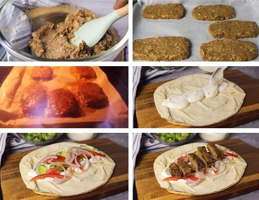 A step by step image of making gyro meat at home.