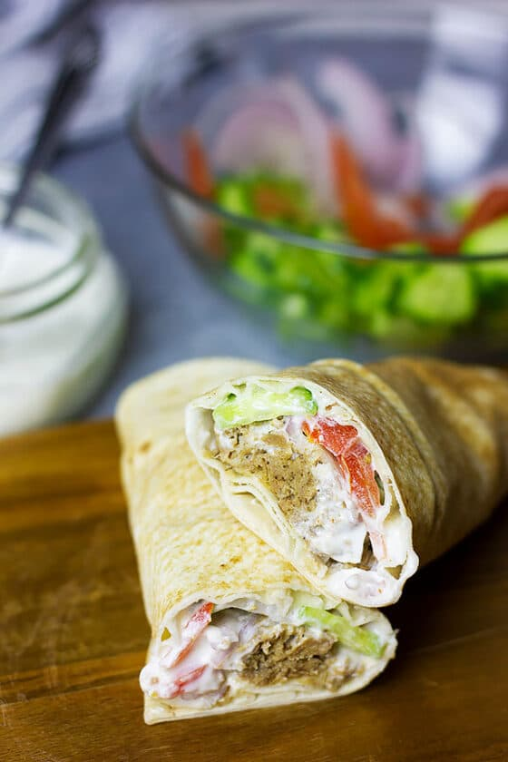 Close up image of Gyros sandwich.