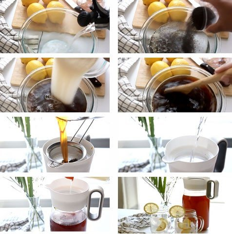 Step by step image for making iced tea