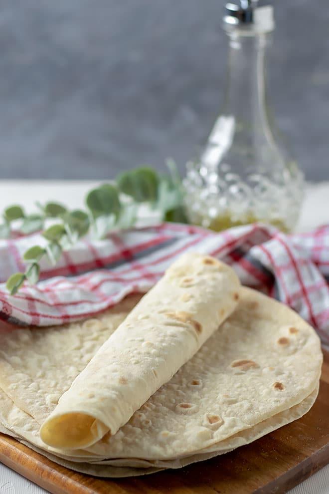 Freshly made flour tortillas.