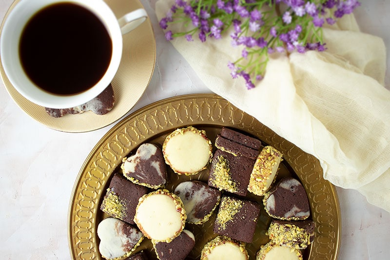 Overhead shot of chocolate and vanilla sugar cookies.